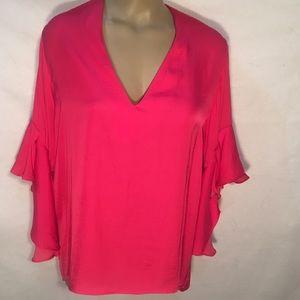 Zara Hot Pink Long Sleeve Peasant Top L